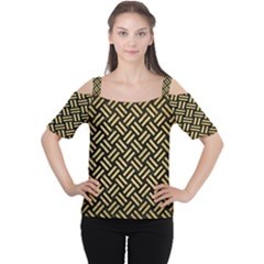 Woven2 Black Marble & Gold Brushed Metal Cutout Shoulder Tee