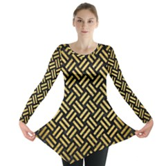 Woven2 Black Marble & Gold Brushed Metal Long Sleeve Tunic