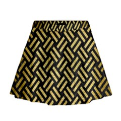 Woven2 Black Marble & Gold Brushed Metal Mini Flare Skirt