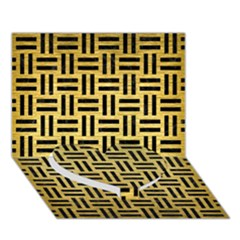 Woven1 Black Marble & Gold Brushed Metal (r) Heart Bottom 3d Greeting Card (7x5)