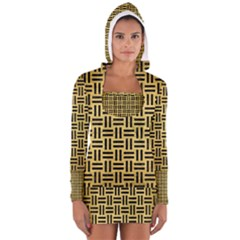 Woven1 Black Marble & Gold Brushed Metal (r) Long Sleeve Hooded T Shirt