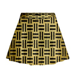 Woven1 Black Marble & Gold Brushed Metal (r) Mini Flare Skirt