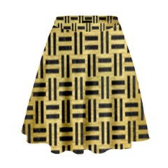 Woven1 Black Marble & Gold Brushed Metal (r) High Waist Skirt