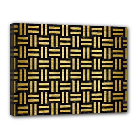 Woven1 Black Marble & Gold Brushed Metal Canvas 16  X 12  (stretched)