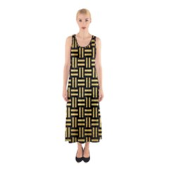 Woven1 Black Marble & Gold Brushed Metal Sleeveless Maxi Dress