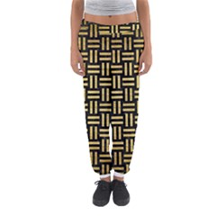 Woven1 Black Marble & Gold Brushed Metal Women s Jogger Sweatpants