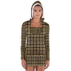 Wov1 Bk Marble Gold Women s Long Sleeve Hooded T Shirt
