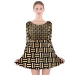 WOV1 BK MARBLE GOLD Long Sleeve Velvet Skater Dress