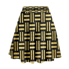 Woven1 Black Marble & Gold Brushed Metal High Waist Skirt