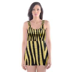 SKN4 BK MARBLE GOLD (R) Skater Dress Swimsuit