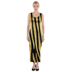 Skin4 Black Marble & Gold Brushed Metal (r) Fitted Maxi Dress
