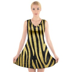SKN4 BK MARBLE GOLD (R) V-Neck Sleeveless Skater Dress