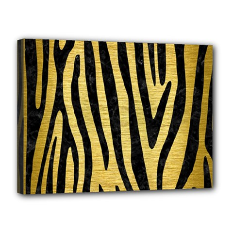 Skin4 Black Marble & Gold Brushed Metal Canvas 16  X 12  (stretched)