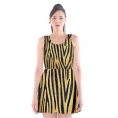 SKN4 BK MARBLE GOLD Scoop Neck Skater Dress