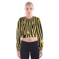 Skin4 Black Marble & Gold Brushed Metal Cropped Sweatshirt