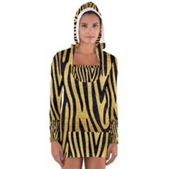 SKN4 BK MARBLE GOLD Women s Long Sleeve Hooded T-shirt