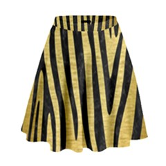 Skin4 Black Marble & Gold Brushed Metal High Waist Skirt