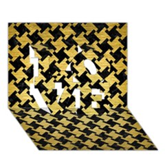 Houndstooth2 Black Marble & Gold Brushed Metal Love 3d Greeting Card (7x5)