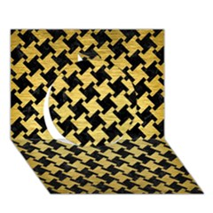 Houndstooth2 Black Marble & Gold Brushed Metal Circle 3d Greeting Card (7x5)