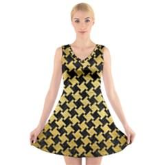 HTH2 BK MARBLE GOLD V-Neck Sleeveless Skater Dress