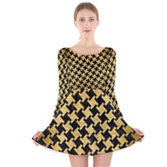 HTH2 BK MARBLE GOLD Long Sleeve Velvet Skater Dress