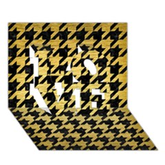 Houndstooth1 Black Marble & Gold Brushed Metal Love 3d Greeting Card (7x5)