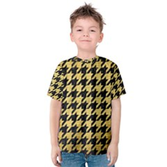 Houndstooth1 Black Marble & Gold Brushed Metal Kids  Cotton Tee