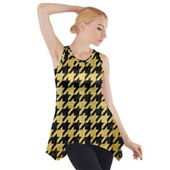 Houndstooth1 Black Marble & Gold Brushed Metal Side Drop Tank Tunic