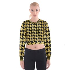 HTH1 BK MARBLE GOLD Women s Cropped Sweatshirt