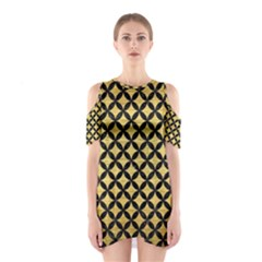 CIR3 BK MARBLE GOLD (R) Cutout Shoulder Dress