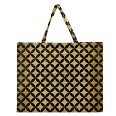 CIR3 BK MARBLE GOLD (R) Zipper Large Tote Bag