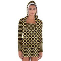 CIR3 BK MARBLE GOLD (R) Women s Long Sleeve Hooded T-shirt