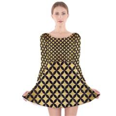 CIR3 BK MARBLE GOLD (R) Long Sleeve Velvet Skater Dress