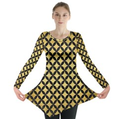 Circles3 Black Marble & Gold Brushed Metal (r) Long Sleeve Tunic