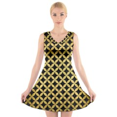 Circles3 Black Marble & Gold Brushed Metal V Neck Sleeveless Dress