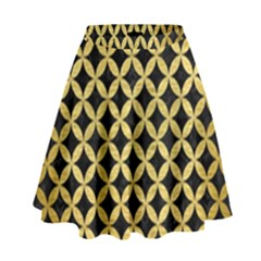 Circles3 Black Marble & Gold Brushed Metal High Waist Skirt