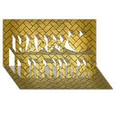 Brick2 Black Marble & Gold Brushed Metal (r) Happy Birthday 3d Greeting Card (8x4)