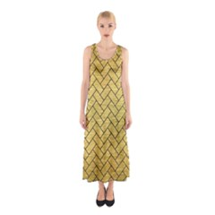 BRK2 BK MARBLE GOLD (R) Full Print Maxi Dress