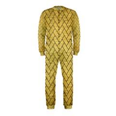 Brick2 Black Marble & Gold Brushed Metal (r) Onepiece Jumpsuit (kids)