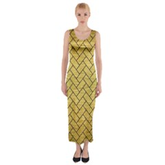 BRK2 BK MARBLE GOLD (R) Fitted Maxi Dress