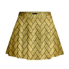 Brick2 Black Marble & Gold Brushed Metal (r) Mini Flare Skirt