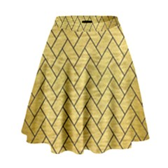 Brick2 Black Marble & Gold Brushed Metal (r) High Waist Skirt
