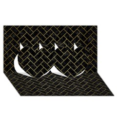 Brick2 Black Marble & Gold Brushed Metal Twin Hearts 3d Greeting Card (8x4)