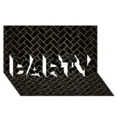 Brick2 Black Marble & Gold Brushed Metal Party 3d Greeting Card (8x4)