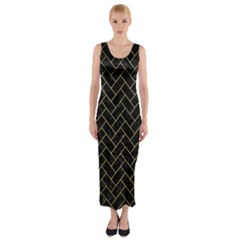 Brick2 Black Marble & Gold Brushed Metal Fitted Maxi Dress