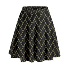 Brick2 Black Marble & Gold Brushed Metal High Waist Skirt