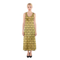 BRK1 BK MARBLE GOLD (R) Full Print Maxi Dress
