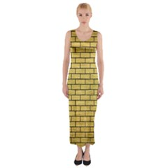 BRK1 BK MARBLE GOLD (R) Fitted Maxi Dress
