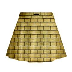 Brick1 Black Marble & Gold Brushed Metal (r) Mini Flare Skirt