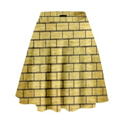 Brick1 Black Marble & Gold Brushed Metal (r) High Waist Skirt